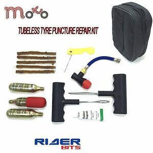 EMERGENCY TUBELESS TYRE REPAIR PUNCTURE KIT BIKE CAR VAN MOTOR CYCLE + ALL TOOLS