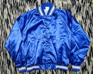 Vintage Blue Satin Jacket Blank Button Up Mens XL Made in USA