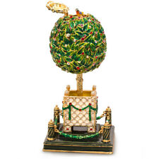 "10"" Bay Tree Faberge Egg Replica. Musical Egg Plays Swan Lake. Made in Russia"