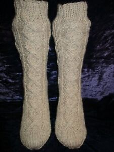 Hand Knitted Ladies aran socks Fully Cabled Beige 6 25%Wool (12)