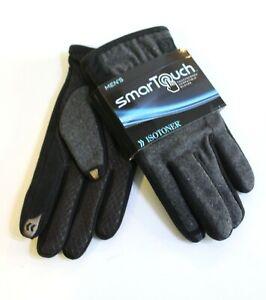 Isotoner Men's Winter Gloves Size M Black Gray