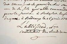 Certificat de l'abbé Sicard, directeur de l'école de sourds-muets de Bordeaux.