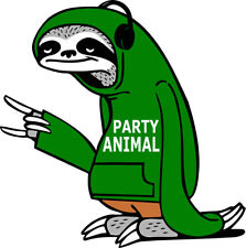 Party Animal Iron on Screen Print fabric heat press Machine Washable patch Sloth