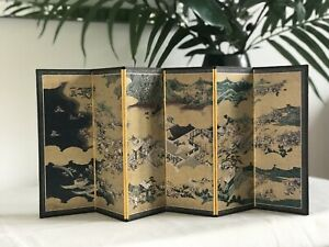 Japanese / Asian Miniature Folding Screen - Very Rare Pint / Warring States!