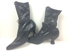 Antique Victorian Holter Black Leather Boots Shoes Women's Lace Up High Top Ohio