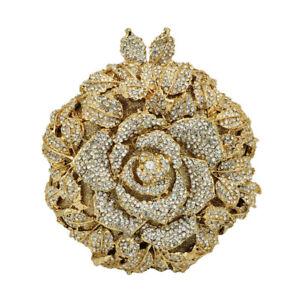Elegant Rose Flower Women Crystal Evening Clutch Bags