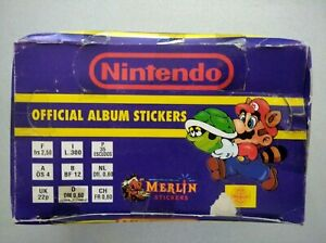 1992 Merlin Super Mario Nintendo Stickers Full Complete Box With 100 Packets