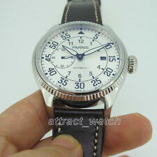 45mm Parnis Small Second Automatic Men's Mechanical Casual Watch Leather Strap