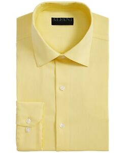 Alfani Men Dress Shirt Classic Bright Yellow Size 15-15 1/2 Regular Fit $60- 318