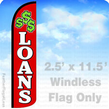LOANS Windless Swooper Feather Flag Banner Sign 2.5x11.5' - rz