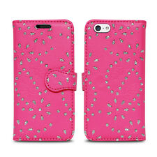 Flip Wallet Leather Cover Case for Apple iPhone Models Screen Protector Glitter Pink I Phone 5 5s