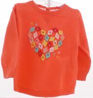 KIMBALOO Pull orange manche longue avec coeur  mosaïque feutrine fille 12 mois