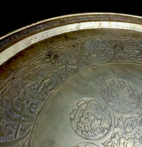 """Antique Large Hammered Brass  Serving Tray Stamped 26.5"""" diameter"""
