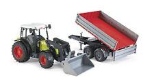 Bruder Claas Nectis Traktor Spielzeug mit Frontlader und Bordwandanhänger NEU