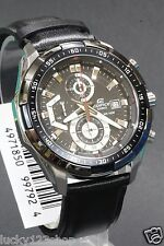 EFR-539L-1A Black Casio Edifice Men's Watches New Model 100M Leather Band New