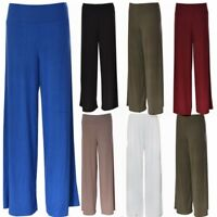 NEW LADIE'S WOMEN'S PLAIN PLAZUO OVERSIZED WIDE LEG FLARED CASUAL TROUSER PANTS