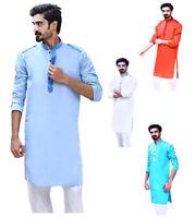 Kurta Pajama Set For Men Indian Top Tunic Kurta Dress Shirt Cotton Fabric