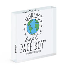 World's Best Page Boy Acrylic Photo Block Frame Funny Favourite Wedding Favour
