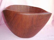 Vintage Teak Wood Mid Century Danish Modern Hand Carved Fruit Salad Center Bowl