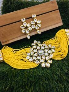 Indian Bollywood Gold Plated Bridal Kundan Choker Yellow Necklace Jewelry Set