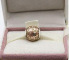 AUTHENTIC PANDORA Glitter Ball Charm, Rose Golden Glitter Enamel, 796327EN #1023