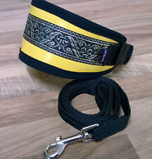 "**LEATHER** GREYHOUND DOG COLLAR FLEECE LINED ADJUST,13"" - 17"" **FREE LEAD**"