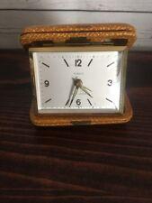 Vintage Rensie Seven 7 Jewels Travel Alarm Desk Clock Germany Case Brown Leather