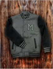 Men's Charcoal Letterman Baseball Varsity Jacket College School Team Jersey Coat