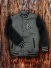 Men's Charcoal Letterman Baseball Varsity Jacket College School Team Jersey Coat
