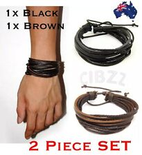 Mens Bracelet Leather Wrap Wristband Charm Surf Wrap Multi Layer Braid 2x PACK