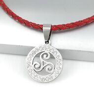 Silber Triskele Keltischer Schmuck Edelstahl Anhänger Rot Lederband Geflochten