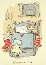 Art Greeting Card Christmas Eve Stockings Cats Kitties Anita Jeram Watercolor
