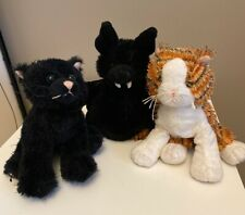 LOT OF 3 GANZ WEBKINZ  - PLUSH TOY - NO CODE- BLACK CAT, BAT, STRIPED ALLEY CAT