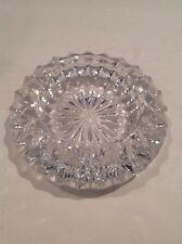 """Vintage Heavy Clear Crystal Glass Ashtray 5 1/2"""" Round Very Nice Must L@@K"""