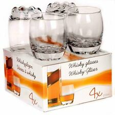 BOX OF 4 x GLASS WHISKEY SHERRY BRANDY WINE 255 ml DECORATIVE GLASSES TUMBLERS
