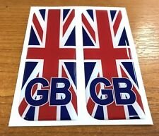 2 x Large Union Jack GB Vehicle Number Plate Stickers - HIGH GLOSS DOMED GEL
