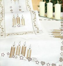 """""""Christmas Candle Star"""" tablecloth KIT to embroider. Hand Stamped 100% cotton  ."""