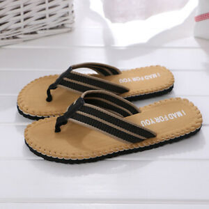 Men Summer Flip Flop Toe Post Slip On Sandals Beach Walking Pool Slippers Trendy