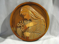 ANRI STYLE 3-D MADONNA WITH FLOWERS PLAQUE - HAND CARVED WOOD