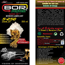 BOR Power MS-250 Gold, BORON NANO TECHNOLOGY, CAR ENGINE OIL TREATMENT, ADDITIVE