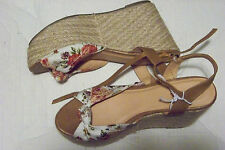 new womens xhilaration floral printed super straw wedge ankle strap shoes size 9