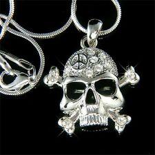 w Swarovski Crystal ~SKULL crossbone PEACE~ HIP HOP Pendant Charm Chain Necklace