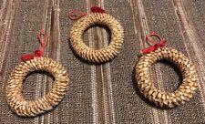 Vintage Lot of 3 Ornaments Wheat Weaving Straw Craft Wreath Decor