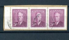 Canada KGVI 1949-51 3c purple booklet pane (imperf x p12) SG423a used on piece