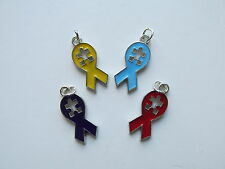 36 Enamel AUTISM AWARENESS Puzzle Piece RIBBON CHARMS really nice FREE SHIP