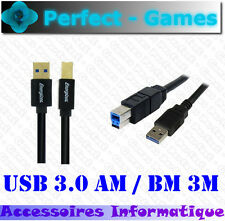 Cable USB 3.0 AM male BM male 3 mètres ENERGIZER haute qualité OR 24K
