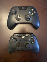 2 LOT TWO  XBOX ONE CONTROLLERS- FOR PARTS Black