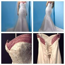 White Wedding Dress Satin Trumpet Strapless Sleeveless Crystals Beads Size 8