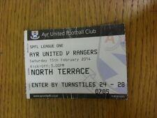 15/02/2014 Ticket: Ayr United v Rangers  (heavily folded/creased). Thanks for vi