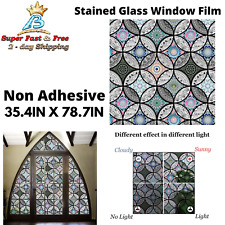 Static Cling Decorative Window Privacy Stained Glass Film Vinyl Non Adhesive NEW